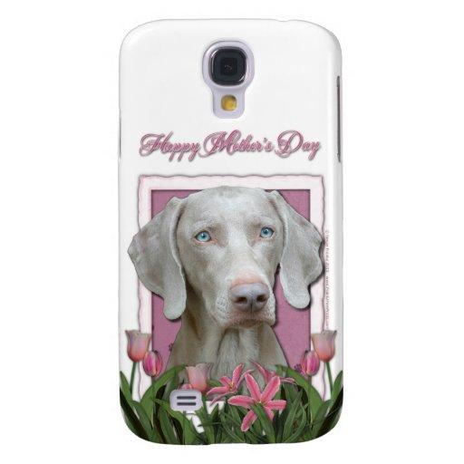 Día de madres - rosa - tulipanes - Weimeraner - az Funda Para Galaxy S4