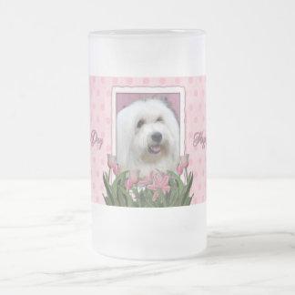 Día de madres - tulipanes rosados - algodón de taza de cristal