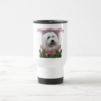 Día de madres - tulipanes rosados - algodón de taza térmica