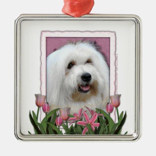 Día de madres - tulipanes rosados - algodón de Tul Ornamento Para Arbol De Navidad
