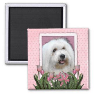 Día de madres - tulipanes rosados - algodón de Tul Imán Cuadrado