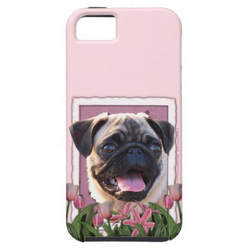 Día de madres - tulipanes rosados - barro amasado iPhone 5 carcasa