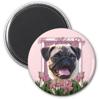 Día de madres - tulipanes rosados - barro amasado imán redondo 5 cm