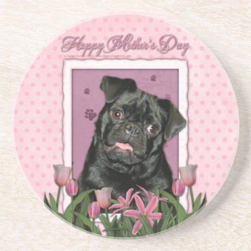 Día de madres - tulipanes rosados - barro amasado  posavaso para bebida