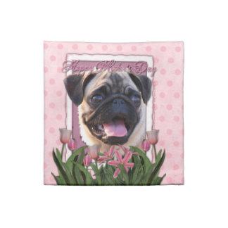 Día de madres - tulipanes rosados - barro amasado servilleta de papel