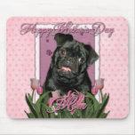 Día de madres - tulipanes rosados - barro amasado  alfombrilla de ratón