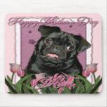 Día de madres - tulipanes rosados - barro amasado  tapete de ratón
