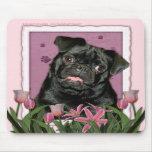 Día de madres - tulipanes rosados - barro amasado  tapetes de raton