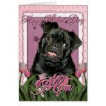 Día de madres - tulipanes rosados - barro amasado  felicitacion