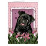 Día de madres - tulipanes rosados - barro amasado  felicitación