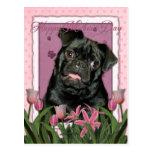 Día de madres - tulipanes rosados - barro amasado postal