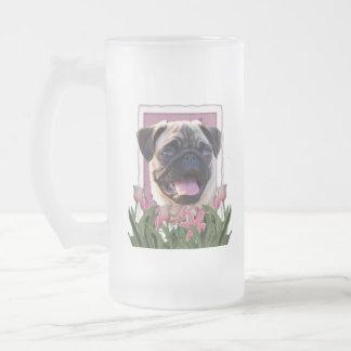 Día de madres - tulipanes rosados - barro amasado taza de cristal