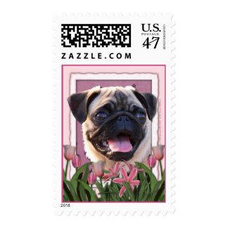 Día de madres - tulipanes rosados - barro amasado timbres postales