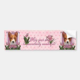Día de madres - tulipanes rosados - Basenji Etiqueta De Parachoque