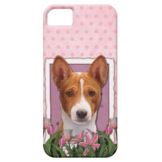 Día de madres - tulipanes rosados - Basenji Funda Para iPhone 5 Barely There