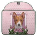 Día de madres - tulipanes rosados - Basenji Fundas Macbook Pro