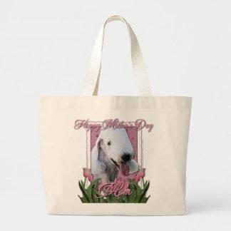 Día de madres - tulipanes rosados - Bedlington Bolsa Tela Grande