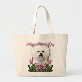 Día de madres - tulipanes rosados - Bichon Frise Bolsa Tela Grande