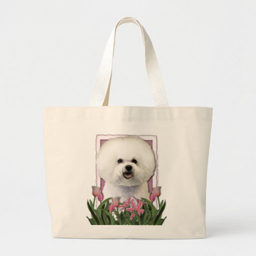 Día de madres - tulipanes rosados - Bichon Frise Bolsa Lienzo