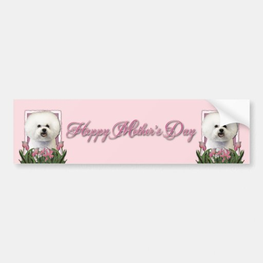 Día de madres - tulipanes rosados - Bichon Frise Etiqueta De Parachoque