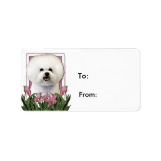 Día de madres - tulipanes rosados - Bichon Frise Etiquetas De Dirección
