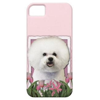 Día de madres - tulipanes rosados - Bichon Frise Funda Para iPhone SE/5/5s