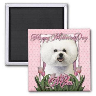 Día de madres - tulipanes rosados - Bichon Frise Imán Cuadrado
