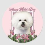 Día de madres - tulipanes rosados - Bichon Frise Pegatina Redonda