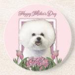 Día de madres - tulipanes rosados - Bichon Frise Posavaso Para Bebida