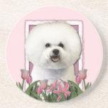 Día de madres - tulipanes rosados - Bichon Frise Posavasos Personalizados