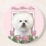 Día de madres - tulipanes rosados - Bichon Frise Posavasos Cerveza