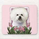Día de madres - tulipanes rosados - Bichon Frise Tapetes De Ratones