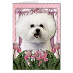 Día de madres - tulipanes rosados - Bichon Frise Tarjetón