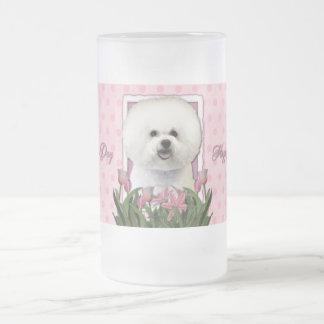 Día de madres - tulipanes rosados - Bichon Frise Taza De Cristal
