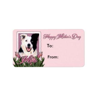 Día de madres - tulipanes rosados - border collie etiqueta de dirección