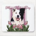Día de madres - tulipanes rosados - border collie mouse pad