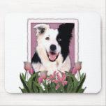 Día de madres - tulipanes rosados - border collie tapete de ratón