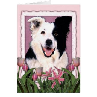 Día de madres - tulipanes rosados - border collie tarjeta de felicitación