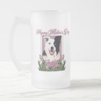 Día de madres - tulipanes rosados - border collie taza de cristal