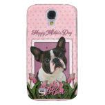 Día de madres - tulipanes rosados - Boston Terrier
