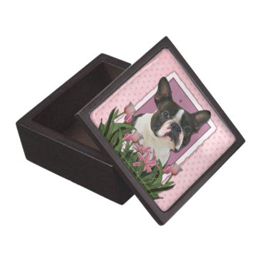 Día de madres - tulipanes rosados - Boston Terrier Cajas De Regalo De Calidad