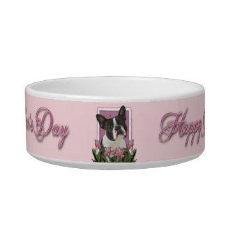 Día de madres - tulipanes rosados - Boston Terrier Comedero Para Mascota