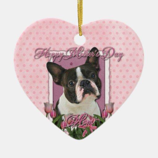 Día de madres - tulipanes rosados - Boston Terrier Ornamentos De Reyes