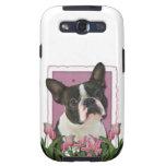 Día de madres - tulipanes rosados - Boston Terrier Galaxy S3 Protector