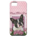 Día de madres - tulipanes rosados - Boston Terrier iPhone 5 Carcasas
