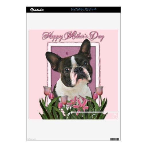 Día de madres - tulipanes rosados - Boston Terrier Mando Delgado Skins
