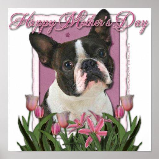 Día de madres - tulipanes rosados - Boston Terrier Impresiones