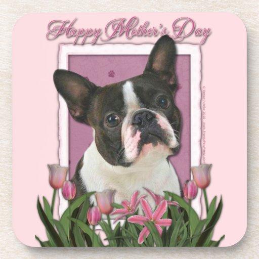 Día de madres - tulipanes rosados - Boston Terrier Posavasos De Bebidas
