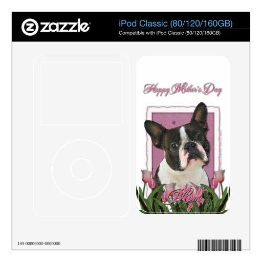 Día de madres - tulipanes rosados - Boston Terrier Calcomanía Para iPod