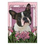 Día de madres - tulipanes rosados - Boston Terrier Tarjeton